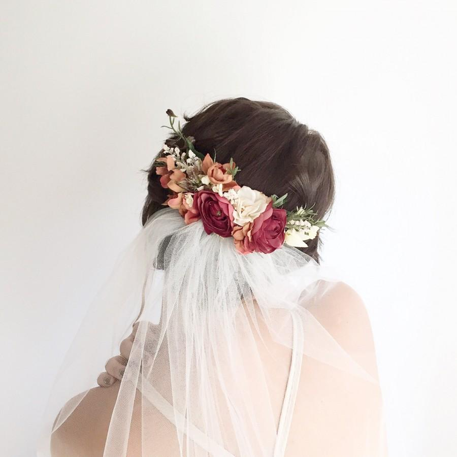 Wedding - Bridal floral comb- bridal headpiece- Flower Crown- Back Comb flower comb