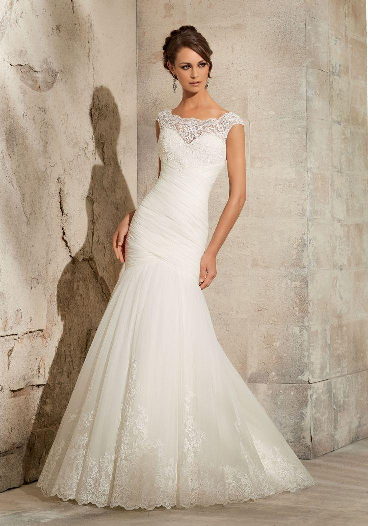 Wedding - Mori Lee 5305 Lace Fit & Flare, Bateau Neckline, Ivory Size 12 Wedding Dress