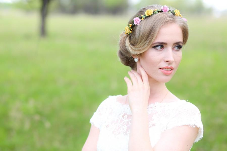 Wedding - Flower crown, Bridal crown, Floral crown,bridal headband,Rustic hair wreath, Woodland hair