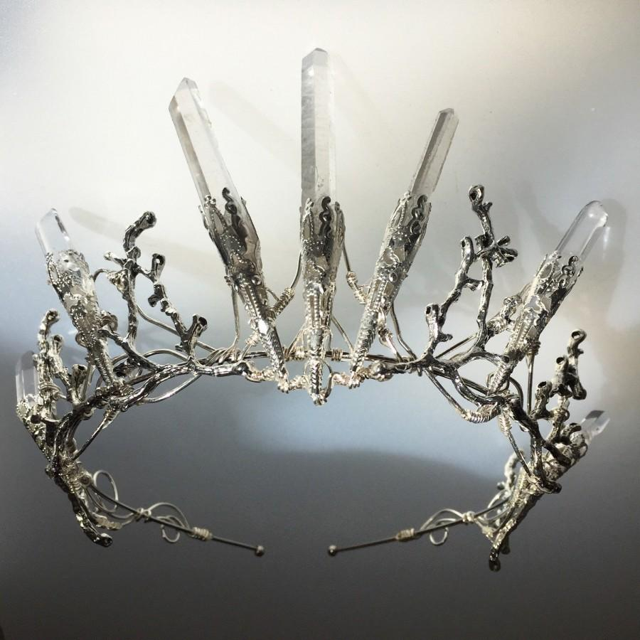statement luna game of thrones inspired star design crystal crown for a whimsical bride unusual tiara ASTERIA opal clear quartz crown