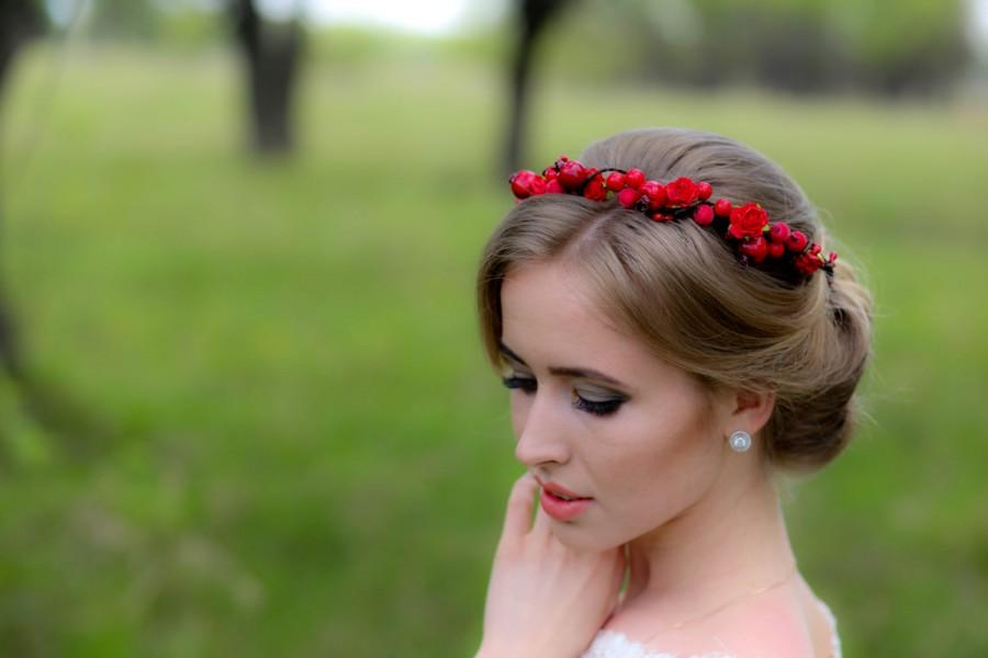 Wedding - Red Flower Crown, Red Rose Headband,  Floral Crown, Rose Headpiece, Flower Girl Headpiece, Red Rose