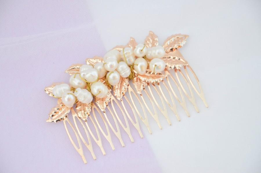 Wedding - Laurel Leaf Comb, Gold comb, Gold leaf comb pearl, Gold Headpiece, bridal comb, , boho.