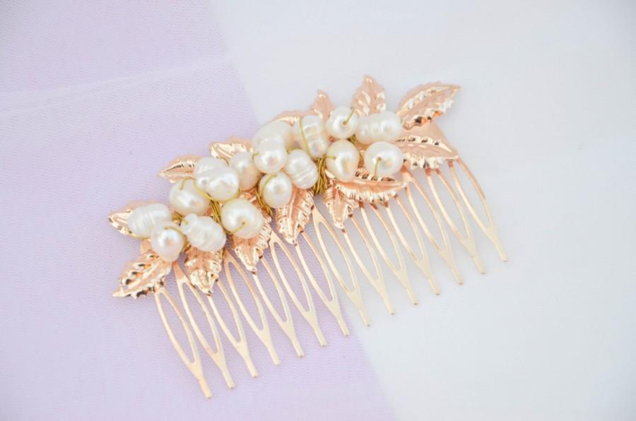 Wedding - Laurel Leaf Comb, Gold comb, Gold leaf comb pearl, Gold Headpiece, bridal comb, , boho.