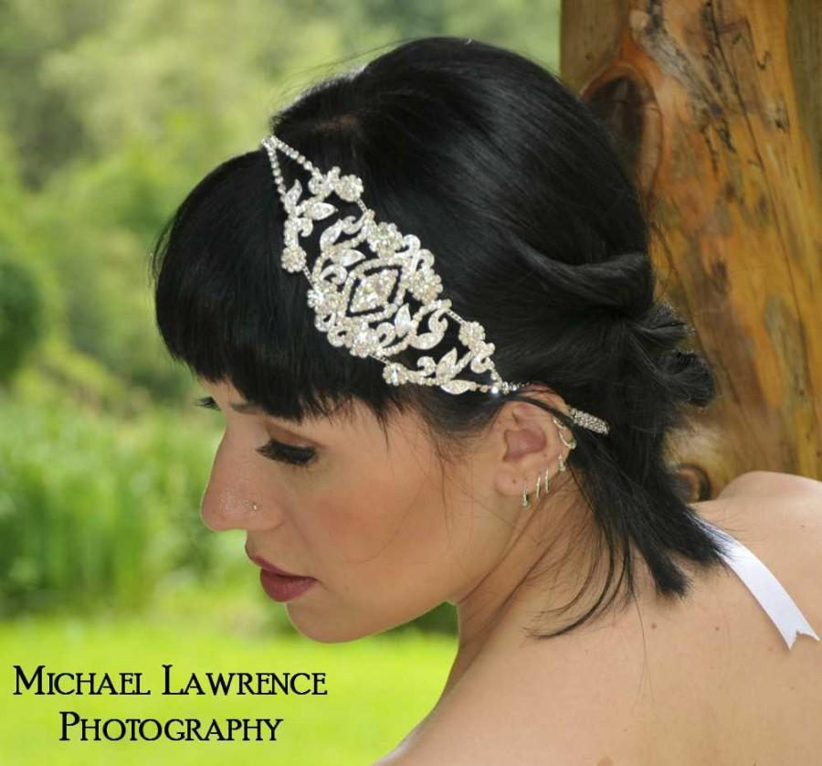 Wedding - Angelina - Rhinestone Medallion Ribbon Headband