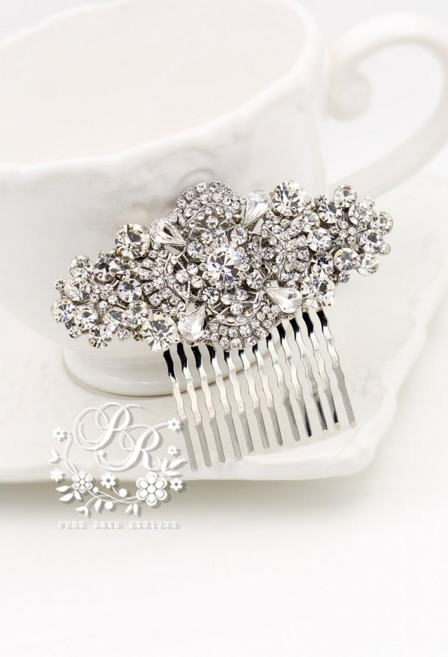Wedding - Wedding Hair Comb Rhinestone Clear Crystal hair comb Bridal hair accessory Wedding Jewelry Bridal Jewelry Wedding Accessory meteor