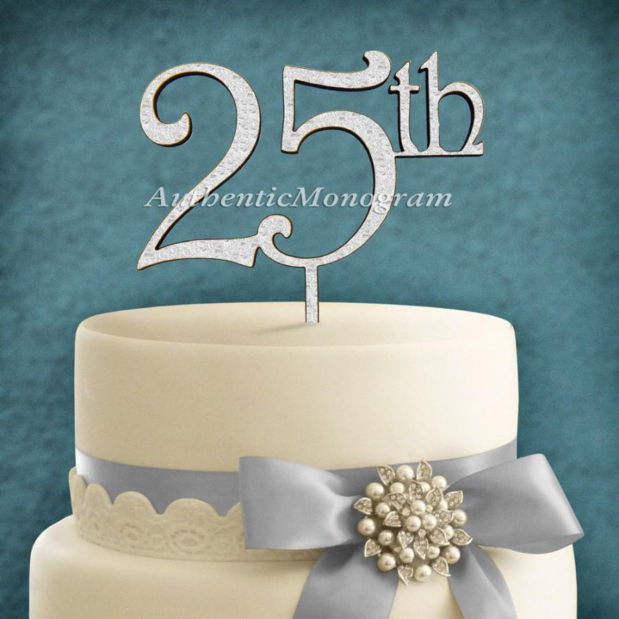 """Hochzeit - 6"""" Wooden PAINTED Cake Topper """"25th"""" Anniversary Monogram, Wedding decor, Initial, Celebration, Anniversary, Special Occasion 4211p"""