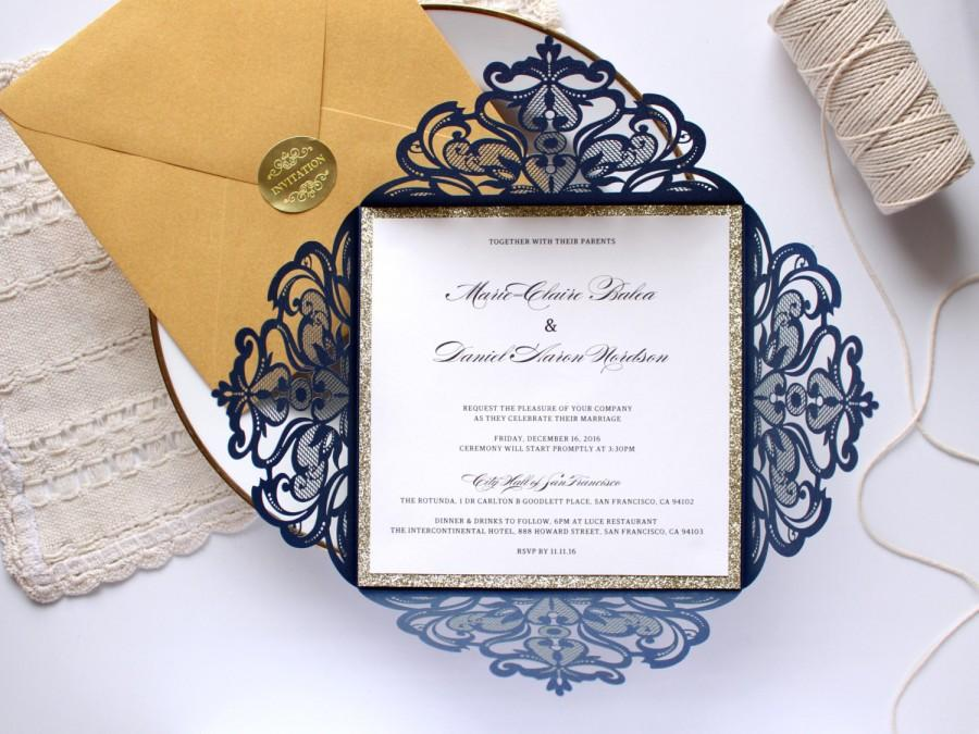 25 x navy and gold wedding invitation, gold glitter wedding invite,