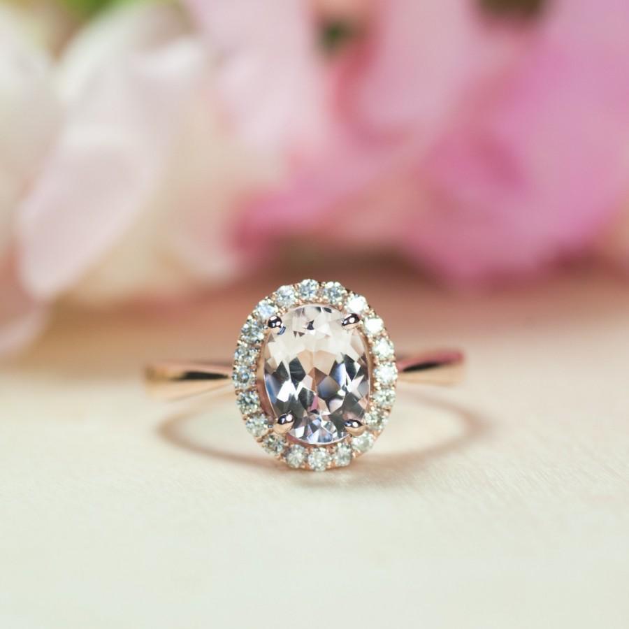 Morganite Engagement Ring, Diamond Halo Ring, Rose Gold Engagement ...