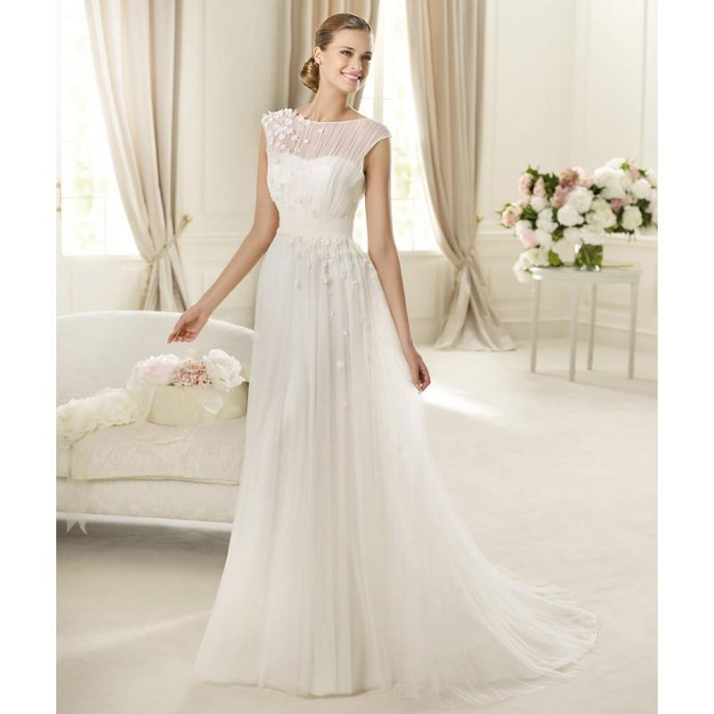 Wedding - Charming Ball Gown Bateau Ruching Hand Made Flowers Sweep/Brush Train Tulle Wedding Dresses - Dressesular.com