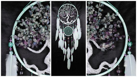 Boda - Mint violet Dream Catcher Tree of life fluorite Dreamcatcher mint Dreamсatcher wall handmade mint gift Valentine Day fluorite gift violet