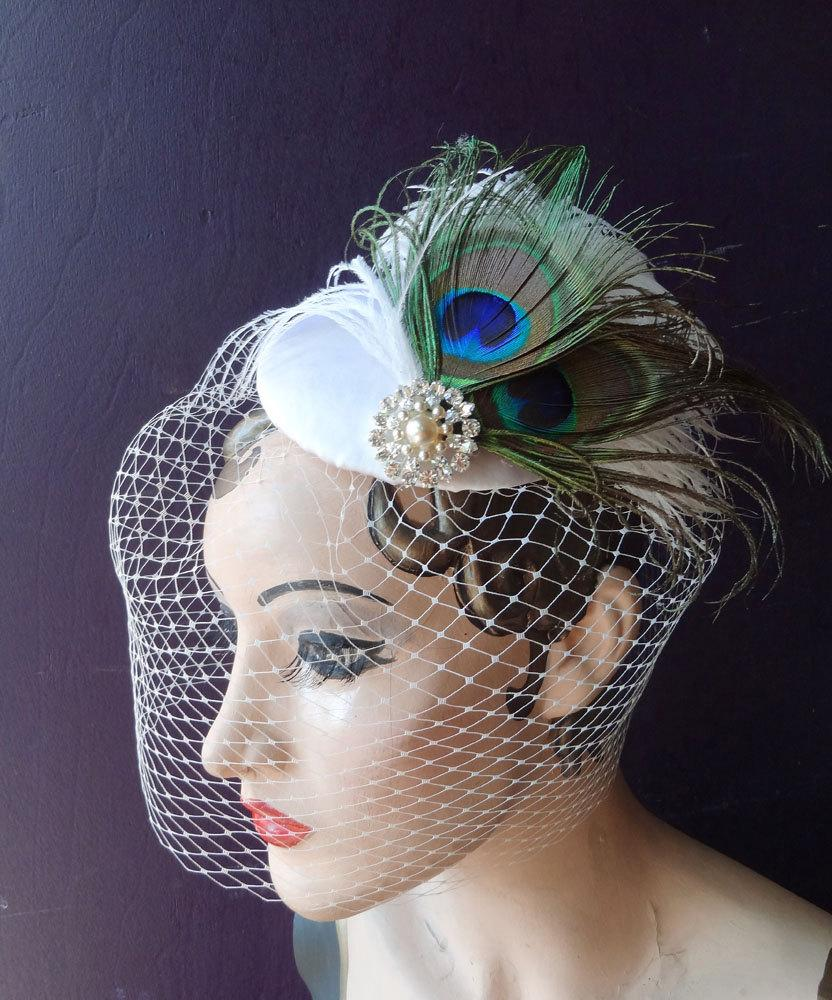 Hochzeit - Bridal Hat, Peacock Feather Fascinator, Ivory Birdcage Veil, Pearl Wedding Veil, Blusher Veil, Unique Bridal Veil, Victorian Wedding Veil