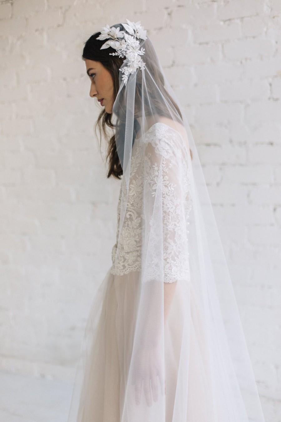 Mariage - Bridal Veil, Juliet Cap Veil ,Lace Wedding Veil, Chapel Cathedral Veil, Wedding Cap Veil, Ivory Veil, Bohemian Veil, 3D Floral Veil - Grace