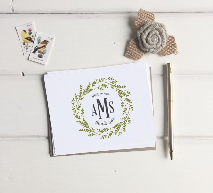 Custom Monogram Thank You Cards Wedding Monogrammed Thank You – Wedding Gift Thank You Card