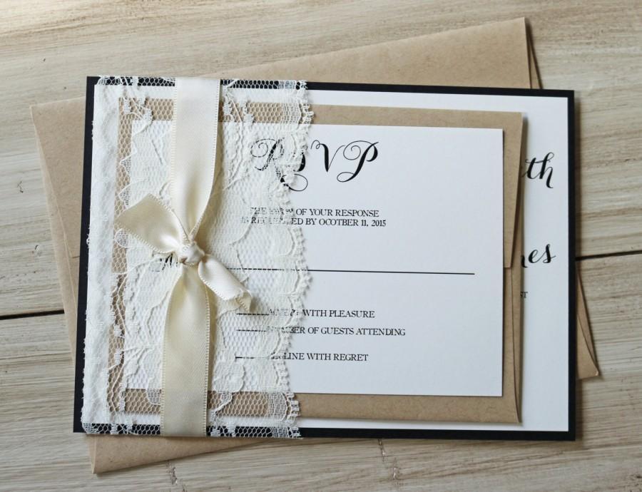 Rustic Wedding Invitation Elegant Lace Wedding Invitation Lace