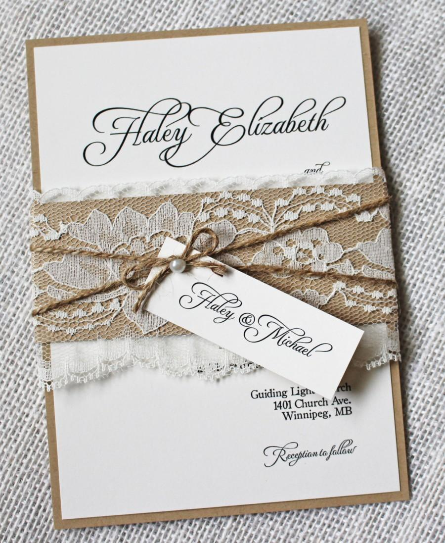 Hochzeit - Rustic Lace Wedding Invitations. Lace Wedding Invitation. Country Wedding. kraft Wedding Invitation, Wedding Invitation Suite, Depos