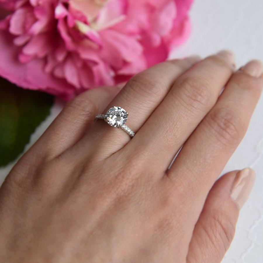 Mariage - 2.25 ctw, 2 ct Round Accented Solitaire Ring, Engagement Ring, Half Eternity Band, Bridal Ring, Man Made Diamond Simulants, Sterling Silver