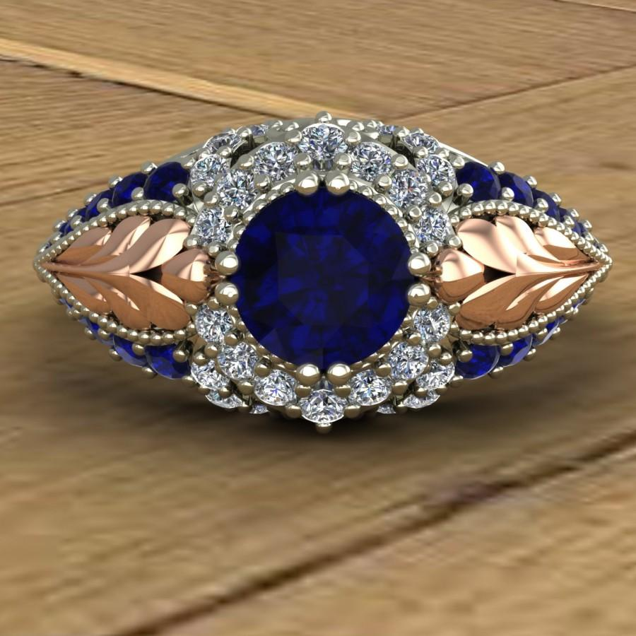 Wedding - Blue Sapphire Engagement Ring - Vintage Inspired Sapphire and Diamond - Rose Gold Leaves - 14k Gold - An Original Design by Charles Babb