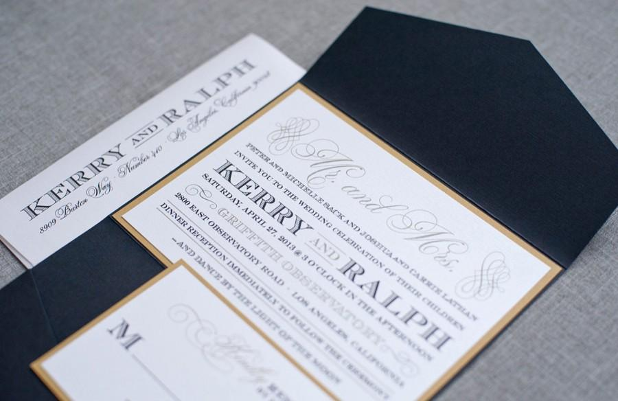 gold wedding invitation black tie wedding pocket invitation art deco invitation formal invitation custom invitation kerry and ralph - Black Tie Wedding Invitations