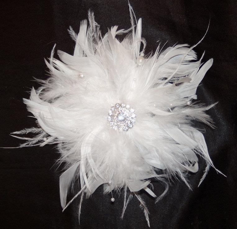 White Or Ivory Ostrich Feather Bridal Clip Vintage Style Beauteous Pouf Hair Piece