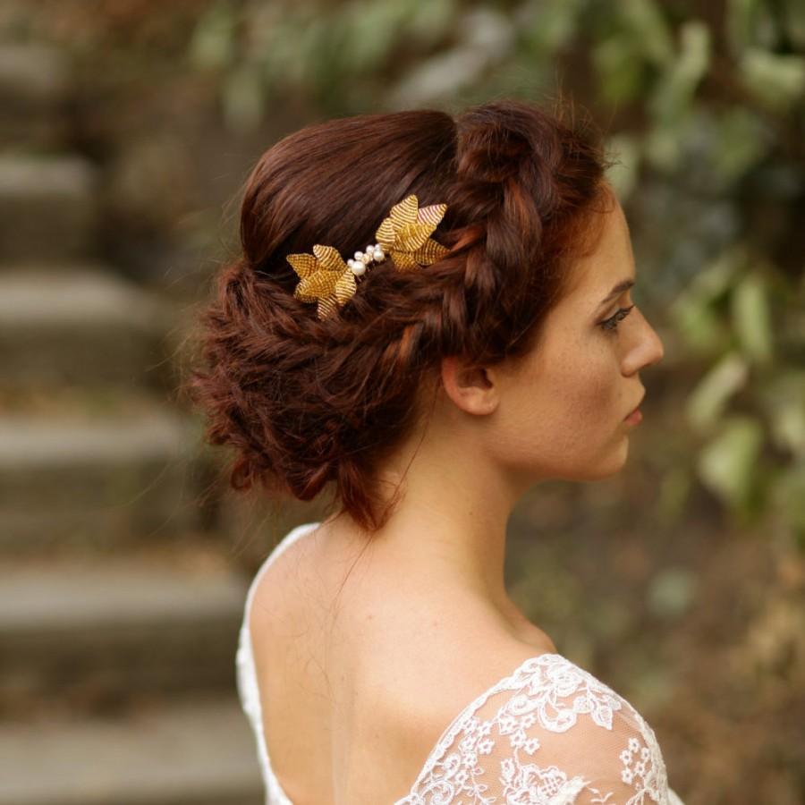 Mariage - Gold bridal hair comb Leaf wedding comb Gold leaf headpiece Wedding hair comb Gold wedding headpiece Gold crystal comb Crystal headpiece