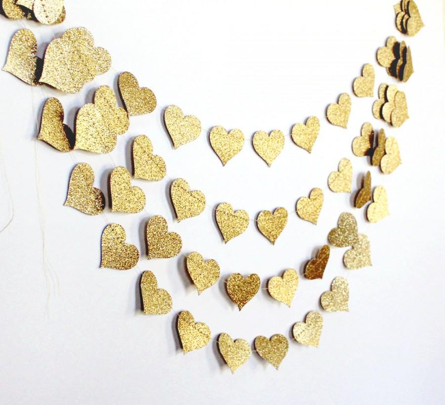 Свадьба - Gold Baby Shower Decoration, Sparkle Bachelorette Party Garland, Wedding Bunting, Bridal Shower Heart Decor, Engagement Party Photo Backdrop