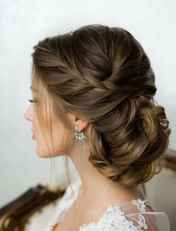 Side French Braid Low Wavy Bun Wedding Hairstyle 2644663 Weddbook