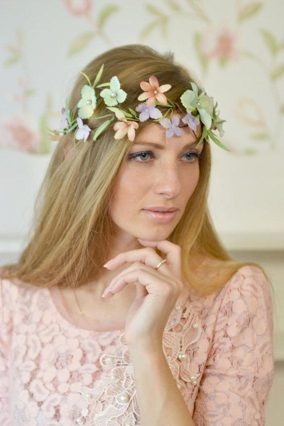 Wedding - Bridal floral headband Woodland crown Hydrangea head piece Wedding flower crown Mint flower garland back hair Floral hairpiece Rustic wreath