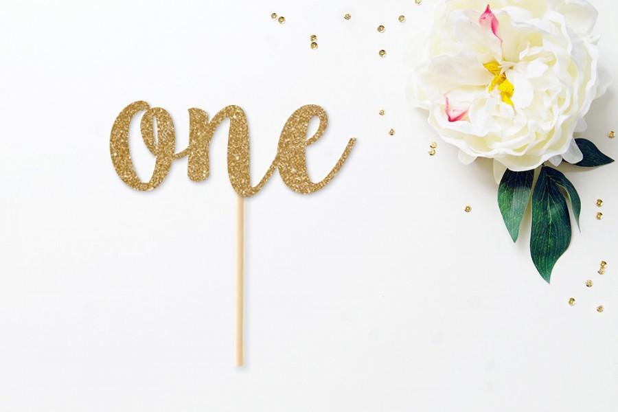 Свадьба - ONE glitter birthday cake topper