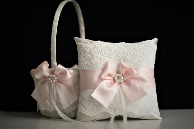 Wedding - Pink Flower Girl Basket  Pink Ring Bearer Pillow  Pink Wedding Basket  Pink Wedding Pillow Basket Set Blush pink Wedding  Lace bearer