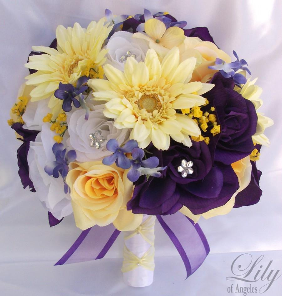 "Hochzeit - 17 Piece Package Wedding Bridal Bride Maid Of Honor Bridesmaid Bouquet Boutonniere Corsage Silk Flower WHITE PURPLE YELLOW ""Lily Of Angeles"""