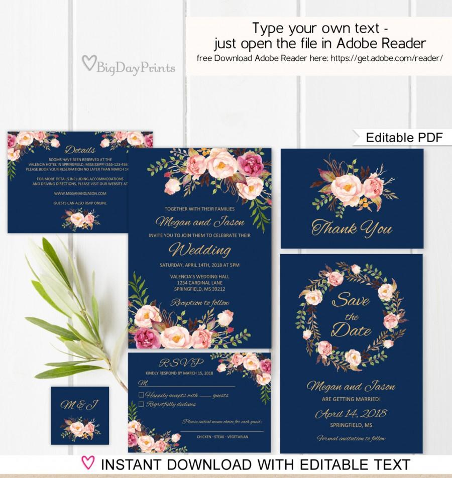 Mariage - Navy Wedding Invitation Template, Boho Chic Wedding Invitation Suite, Floral Wedding Set, , Editable PDF - you personalize at home.