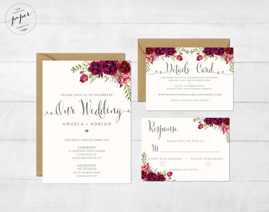 Floral wedding invitation printable wedding invitation for Wedding invitation suite what to include
