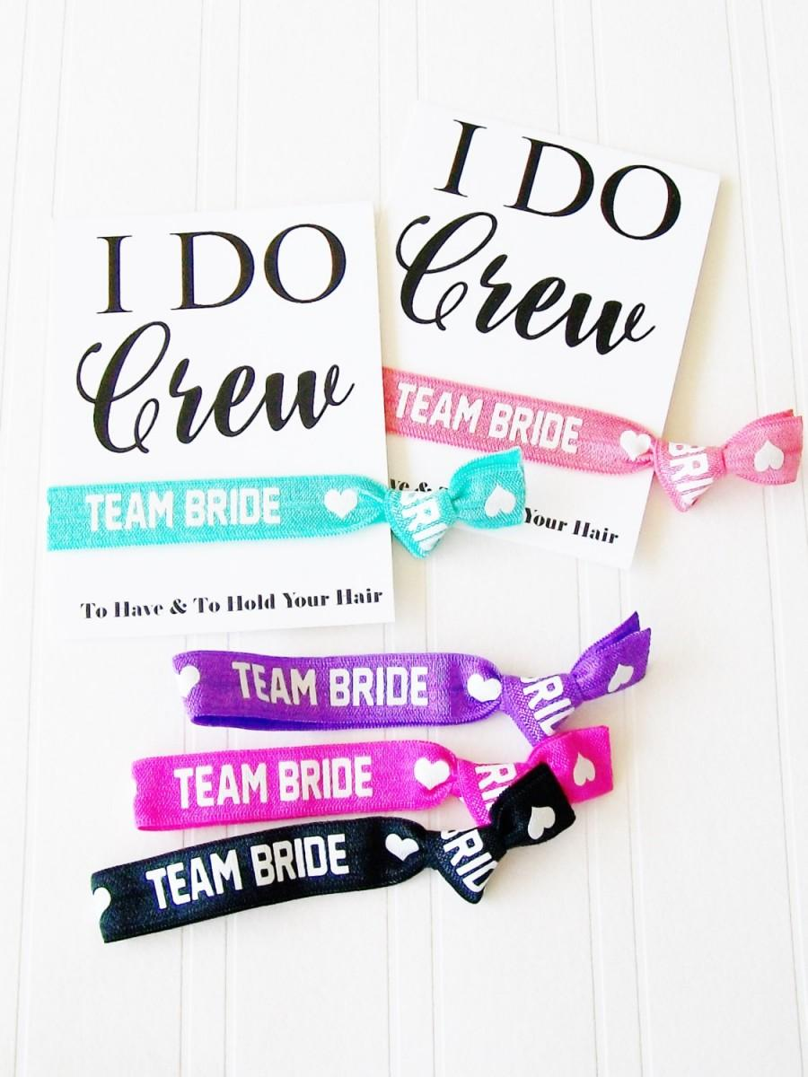 Mariage - Team Bride, I Do Crew Hair Tie & Card, Wedding Party Favor, Bridal Shower, Bachelorette Party, Wedding Day Survival Kit, Hangover kit bag