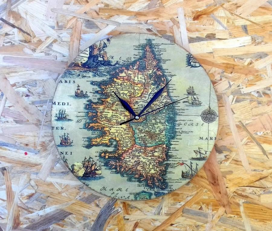 Wall clock valentine gift for man decoupage clock wooden clock wall clock valentine gift for man decoupage clock wooden clock vintage style clock old map clock rustic style clock shabby chic clock gumiabroncs Images