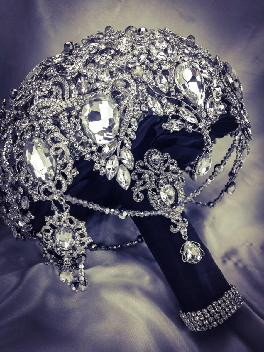 Mariage - Beautiful Black Silver Great Gatsby Diamond Jeweled Crystal Bling bouquet. Deposit on made to order