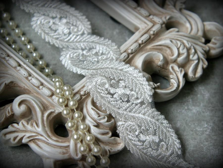 "Wedding - Ivory Lace Fabric Trim, Lace Fabric, Guipure Lace, Venice Lace, Bridal Lace, Costume Design, Lace Applique, Crafting Lace, 1.75"" BN-030"