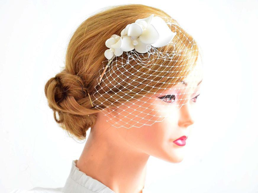 Свадьба - Petite birdcage veil with headpiece Bridal hair clip with mini veil birdcage veil  Birdcage veil headband Bridal hair comb