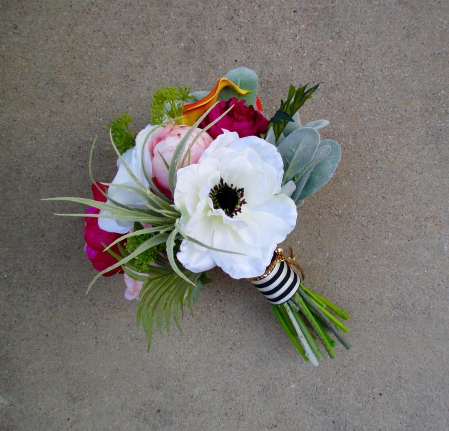 Sweet Springtime Bridal Bouquet Peony Cabbage Rose Calla Lily