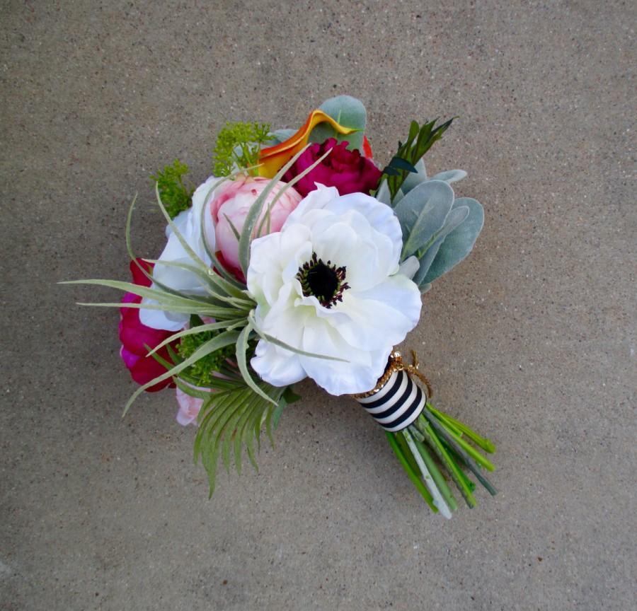 Свадьба - Sweet Springtime Bridal Bouquet, Peony, Cabbage Rose, Calla Lily, Anemone Modern Wedding Bouquet, Hot Pink, Green & Orange w Black/White