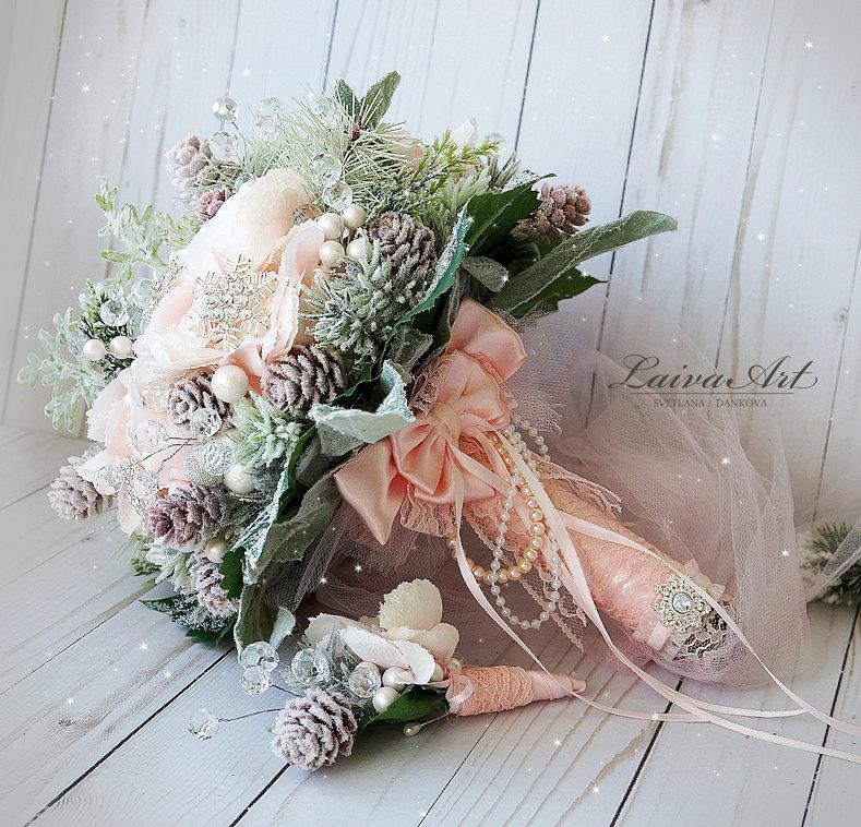 Wedding - Winter Wedding Bouquet Alternative Bridal Bouquet Blush Pink Wedding Bouquet with Boutonniere Brooch Bouquet