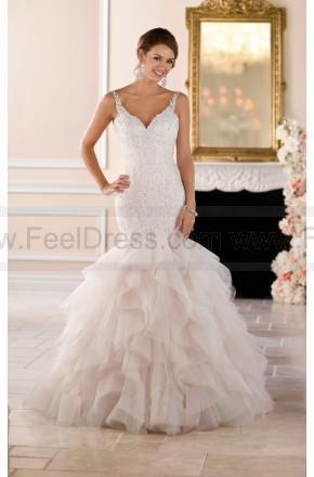 Boda - Stella York Sexy Silver Lace Beaded Trumpet Wedding Dress Style 6402