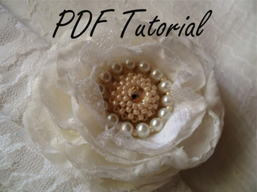 Свадьба - Mary PDF tutorial Ivory glass pearl brooch, Fabric flower brooch bouquet component, Bridal sash hair pin decoration