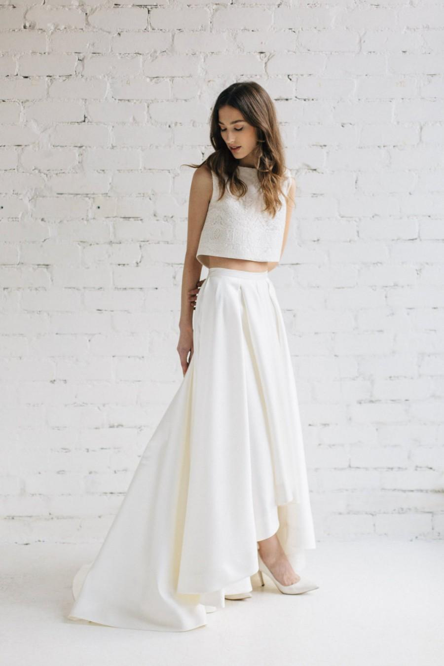 Wedding Dress Skirt And Top Of Two Piece Wedding Dress Bridal Separates Crop Top Dress