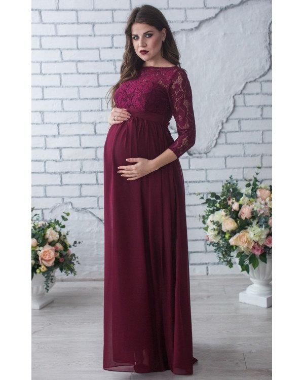 ef49d4a3ac2 Burgundy Floor Length Dress Maternity.Lace Chiffon Formal Dress Pregnant. Maxi Evening Dress Marsala.Maxi Gown Maternity