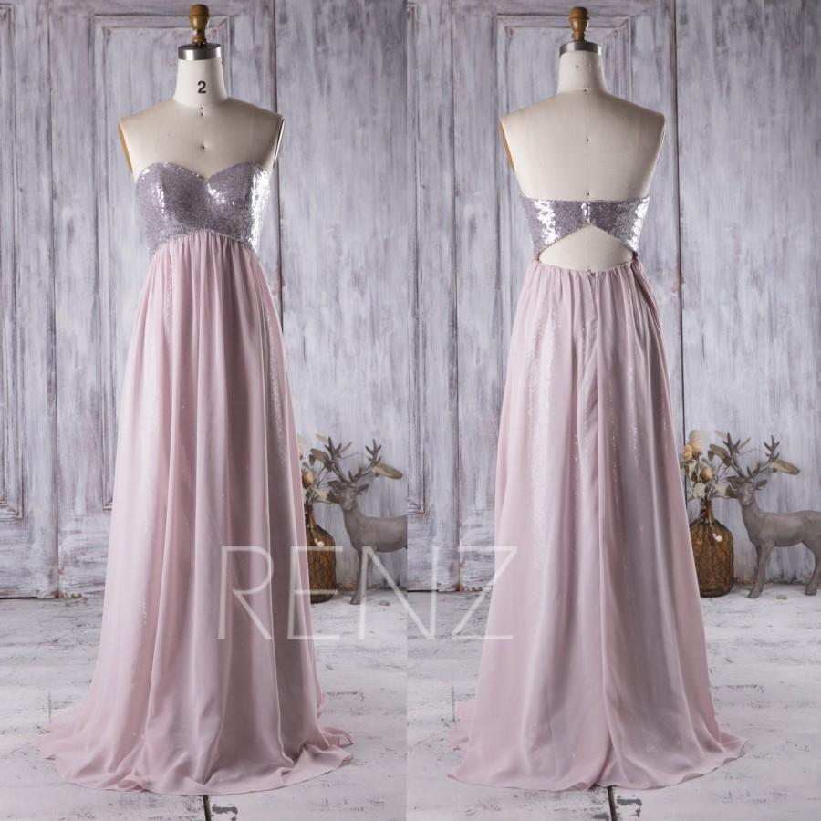 Свадьба - 2016 Blush Chiffon Bridesmaid Dress Empire Waist, Sweetheart Sequin Wedding Dress, Strapless Prom Dress, Open Back Evening Gown Full (JQ062)