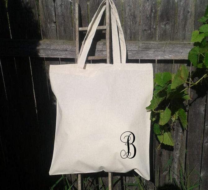 Свадьба - Monogram Initial Tote Bag - Bridesmaid Gift Bags - Welcome Bags for Wedding -You choose letters- Custom Tote Bags-Flower Girl