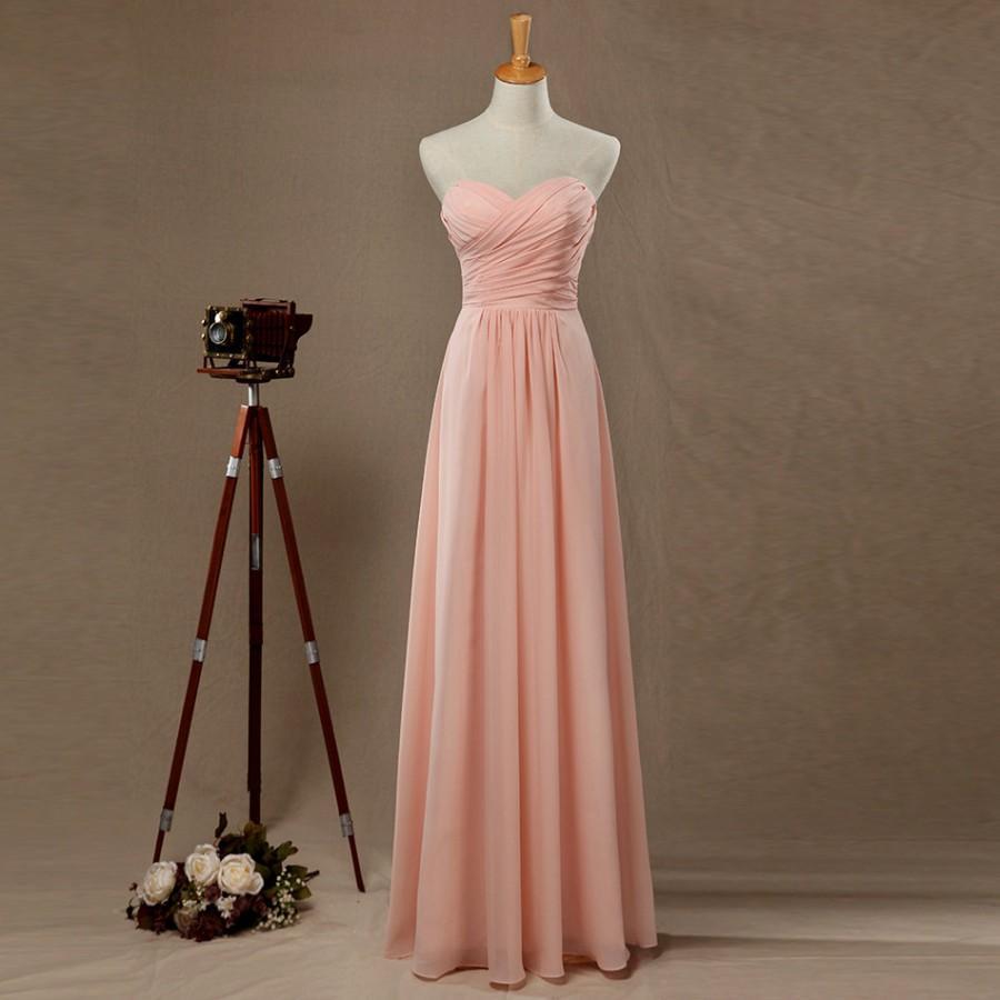 Hochzeit - 2016 Blush Bridesmaid Dress, Long Wedding dress, Empire Chiffon Prom Dress, Sweetheart Strapless Formal Dress