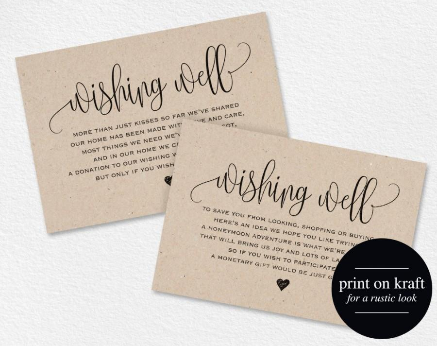 Wedding Invitation Wording For Monetary Gifts: Wishing Well Card, Wedding Wishing Well, Wishing Well