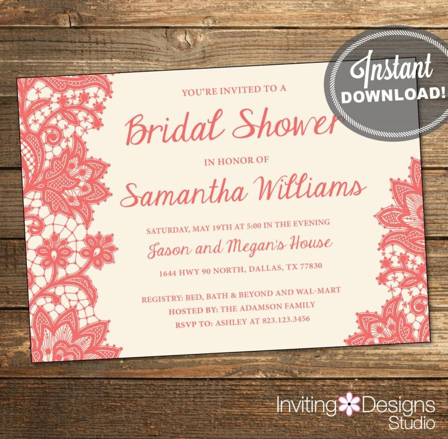 printable wedding shower invitation bridal shower invitation lace coral cream background instant download ids1026 - Bed Bath And Beyond Wedding Invitations