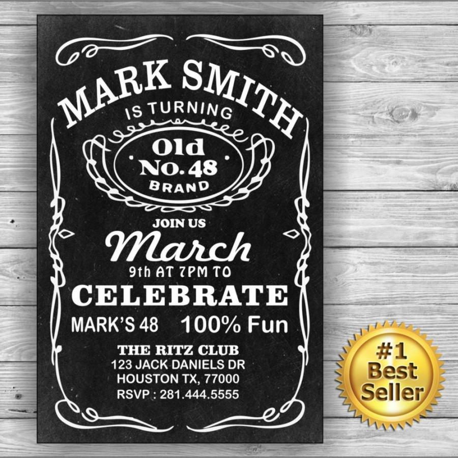 Jack Daniels Him Her Birthday Card Invitation Label Theme Black And White